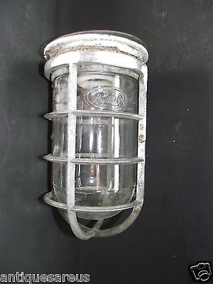 Antique Rab Industrial Salvage Vapour Proof Lamp