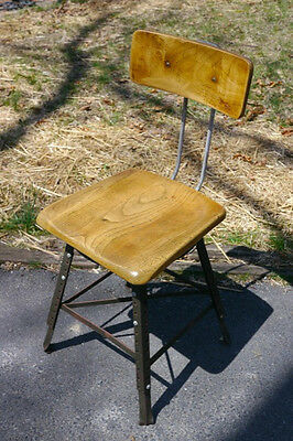 Vintage Solid Maple Wood Steel Industrial Drafting Art Adjustable Stool Chair • £155.15
