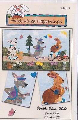 CLEARANCE - Walk Run Ride for a Cure - fun applique & pieced quilt PATTERN