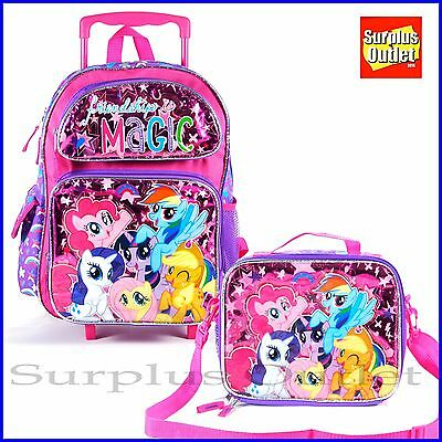 """My Little Pony Rolling Backpack 16"""" Large Roller Lunch Bag 2pc Set"""
