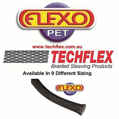 3m Length - Black - Techflex Flexo PET Expandable Braided Cable Sleeving
