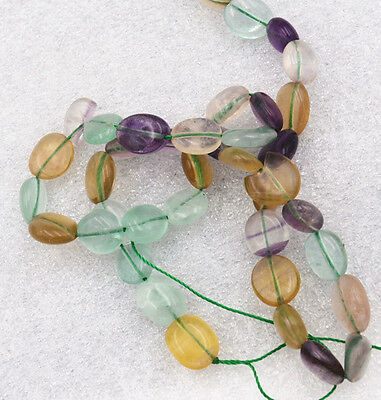 Beautiful 8x10mm Multicolor Fluorite Irregular Shapes Gemstone loose beads 15""