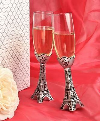 Pair of Paris Eiffel Tower Toasting Wedding Party Wine Champagne Flutes Glasses
