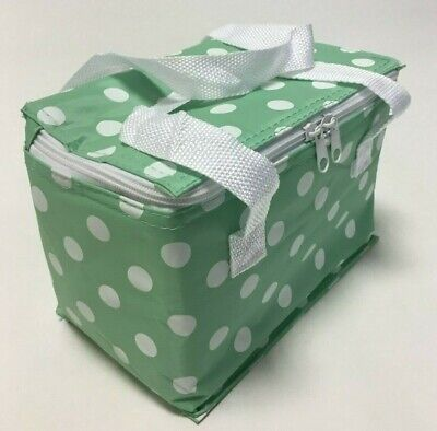 Cool Bag Polka Dot Mint Green Spot Spotty Picnics Bags School Packed Lunches C8