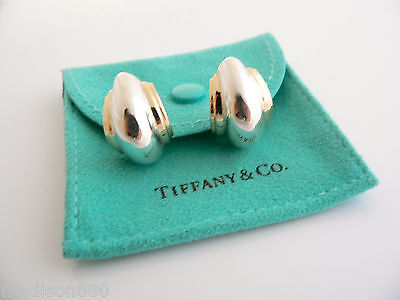 a21097277 Tiffany & Co Silver 18K Gold Picasso Vendome Shell Earrings Studs Excellent