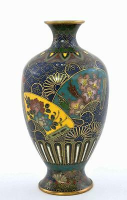 Old Japanese Gilt Cloisonne Enamel Cobalt Blue Vase with Flowers & Fan