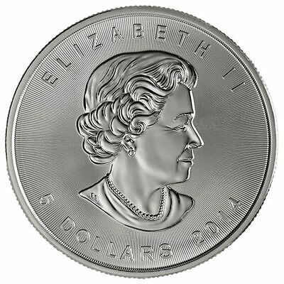 2 - 2014 Canadian Maple Leaf  $5.00 Coins - .9999 Pure Silver - BU - Protected