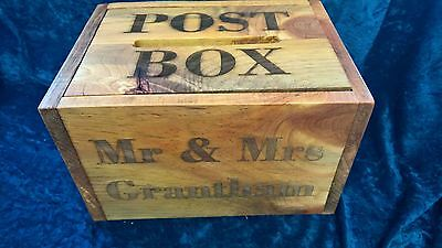 Solid Wood Rustic Wedding Card/Post Box - Hand Made PERSONALISED Vintage shabby