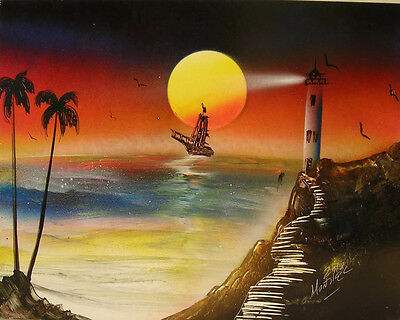 LIGHTHOUSE SEASCAPE Painting signed HENDERSON - $38 00