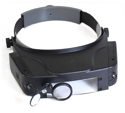 Hawk Opticals LED Illuminated Headband Magnifier w/ 4 Lenses & Extra Swivel Lens