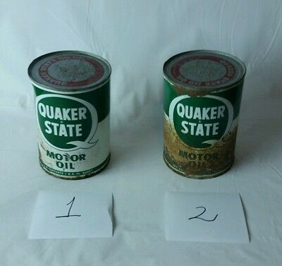 2 Quaker State Oil Can Vintage clean FULL quart motor advertising