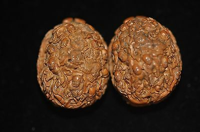 Pair Of Antique Chinese Hand Carved Walnuts