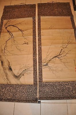 Pair Of Chinese Hand Paint Scroll Painting