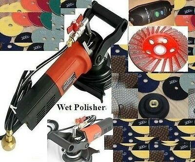 """5"""" Variable Speed Concrete Cement Wet Polisher Grinder Polishing 12 Pad 2 Cup"""