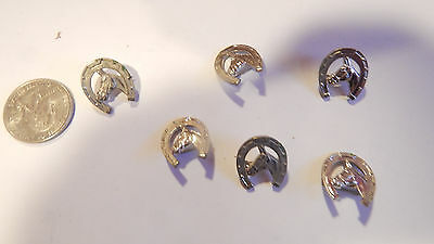 6 VINTAGE 1950s HORSE SHOE HORSE PINS LOOK
