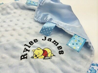 Personalised Baby Taggie Comforter / Comfort Blanket With Winnie The Pooh taggy