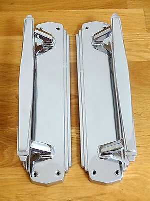 "1st PAIR LARGE CHROME 12"" ART DECO DOOR PULL HANDLES KNOBS PLATES FINGER PUSH"
