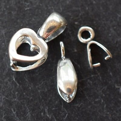 Sterling Silver 925 (Sts) Pinch Bails * Pear * Heart * Various Sizes