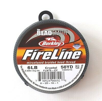 BEADSMITH FIRELINE BRAIDED BEADING THREAD *CRYSTAL*0.25mm*50M *JEWELLERY MAKING