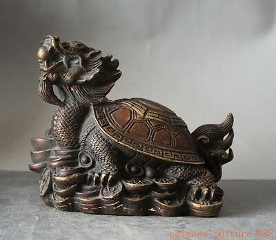 old chinese bronze money coin ingot longevity dragon head turtle tortoise statue