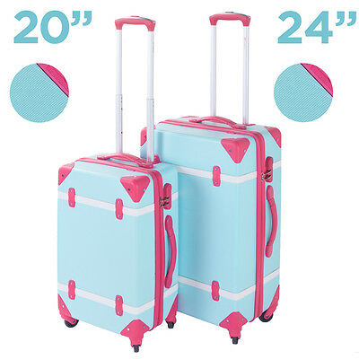 Hard Shell 4 Wheels Suitcase Trolley Travel Bag Case Cabin Hand Luggage Blue