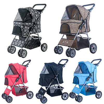 BTM Pet Travel Dog Stroller Dog Puppy Cat Pushchair with 4 Swivel Wheels