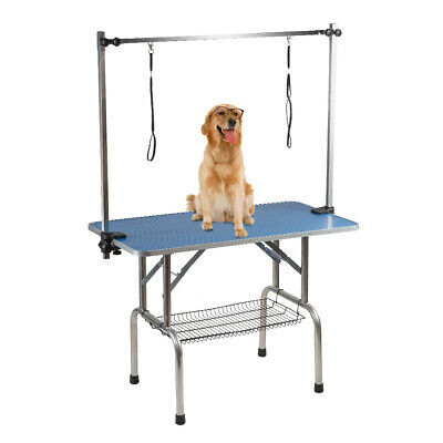 BTM Folding Dog Pet Grooming  Bath Table Portable Adjustable Height Arm Non Slip
