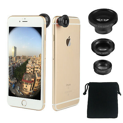 Clip-on 3in1 black Fish Eye,Macro Camera,Wide Angle Lens Kit For Apple iPhone