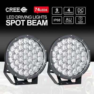 2X 555W 9 inch LED Driving Lights Spot Beam Round CREE Worklights vs HID