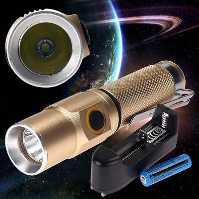 3000 LM CREE XM-L Q5 LED Flashlight Torch Gold +14500 Batterie +Smart Charger DD