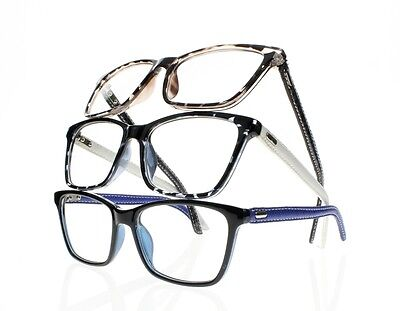 New Square Frame Temple Reading Glasses Simulated Leather Trim Eyewear +1.0~+4.0