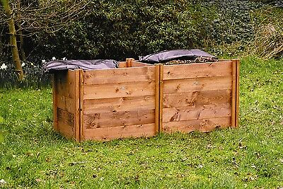 Compact FSC Double Twin Wooden Compost Bin 138x72x75 (540l)
