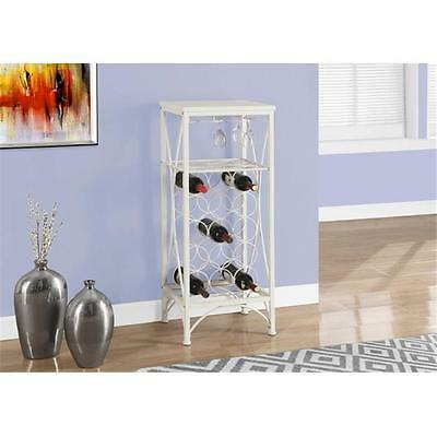 MonarchSpecialties I 3348 40 in. H, Home Bar With Bottle And Glass Rack White