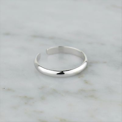 925 Sterling Silver Adjustable Plain Band Toe Ring - Minimal, Simple