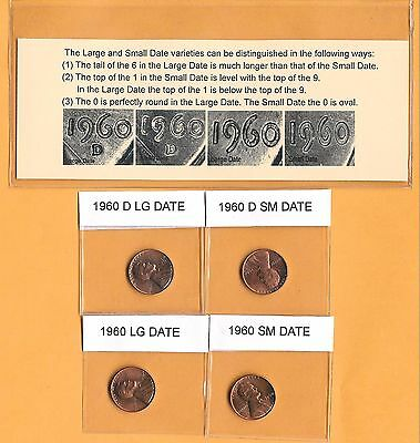1960 P & D Small & Large Date (4) Four Coin Bu Lincoln Cent Penny Set BU Rolls