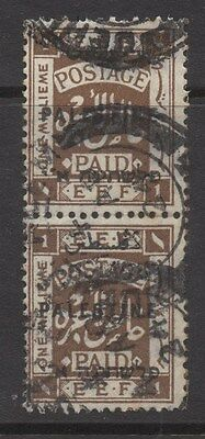 PALESTINE;  1920s early Optd. issue fine used 1m. Pair