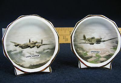 Miniature picture of WW II Spitfire and Lancaster on a English Bone China Vase