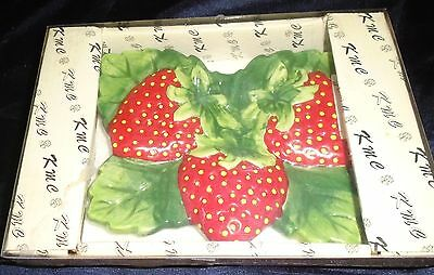 Vintage New KMC Strawberry Spoon Rest Decorative in box