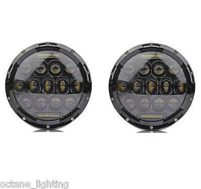 """Pair 7"""" Black Projector HID White 6K LED Daymaker DRL Headlight Light Bulb Lamps"""