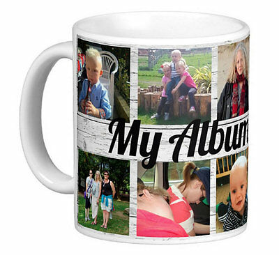 Personalised Photo Mug 10 Picture Collage Add Greeting Gift Tea Coffee Cup