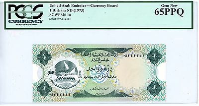 United Arab Emirates ... P-1a ... 1 Dirham ... ND(1973) ...*Gem UNC* PCGS 65 PPQ