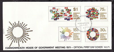 Singapore 1971 Commonwealth Heads Government Stamps Illustrated First Day Cover