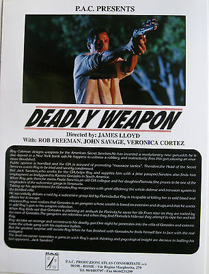 DEADLY WEAPON brochure 1994 James Lloyd Rob Freeman John Savage Veronica Cortez