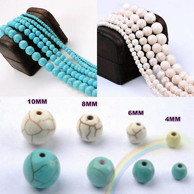4MM 6MM 8MM 10MM Howlite White BLUE Turquoise Gemstone Round Loose DIY Beads