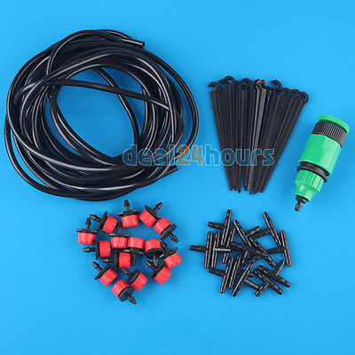 10m New Micro Flow Drip Irrigation System Self Plant Garden Hose Watering Kits