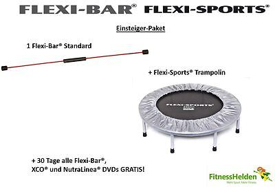 Einsteiger-Set: Flexi-Sports®Trampolin + Flexi-Bar®Standard + 30 Tage ALLE DVDs!