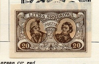 Lithuania (Central) 1921 Early Issue Fine Mint Hinged 20m. Imperf 074663