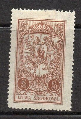 Lithuania (Central) 1920 Early Issue Fine Mint Hinged 5m. 074771