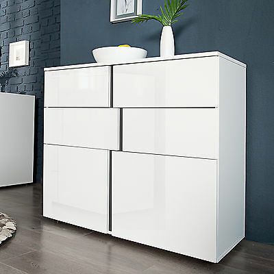 moderne design highboard arctic 100cm wei hochglanz. Black Bedroom Furniture Sets. Home Design Ideas