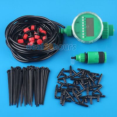 25m Micro Drip Manual/Automatic Irrigation System Plant Watering Garden Hose